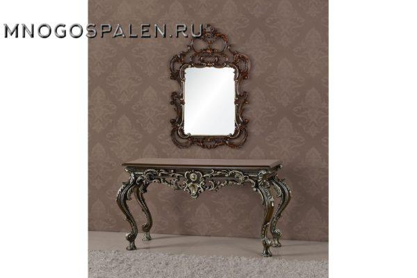 Консоль А89001-1 Gabriele коричневая с серебром купить в салоне-студии мебели Барселона mnogospalen.ru много спален мебель Италии классические современные