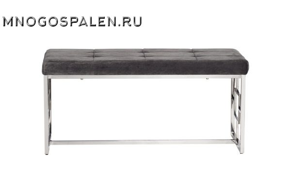 Банкетка велюровая серая 47ED-BEN005-GR купить в салоне-студии мебели Барселона mnogospalen.ru много спален мебель Италии классические современные