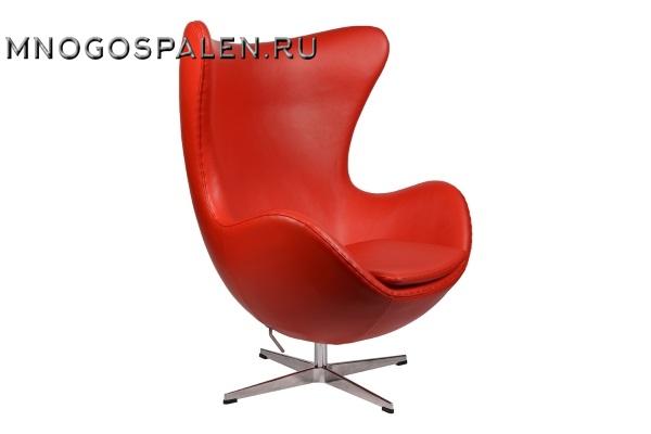 Интерьерное кресло Arne Jacobsen Style Egg Chair красная кожа premium купить в салоне-студии мебели Барселона mnogospalen.ru много спален мебель Италии классические современные