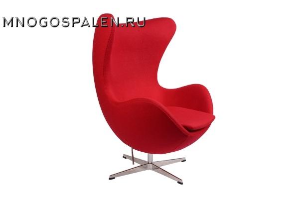 Кресло Arne Jacobsen Style Egg Chair красная шерсть купить в салоне-студии мебели Барселона mnogospalen.ru много спален мебель Италии классические современные