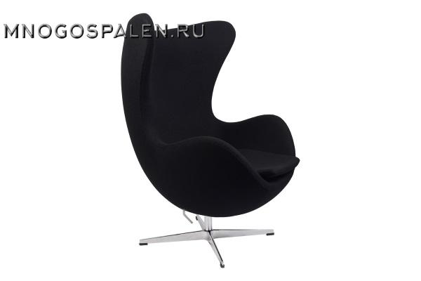 Кресло Arne Jacobsen Style Egg Chair черная шерсть купить в салоне-студии мебели Барселона mnogospalen.ru много спален мебель Италии классические современные