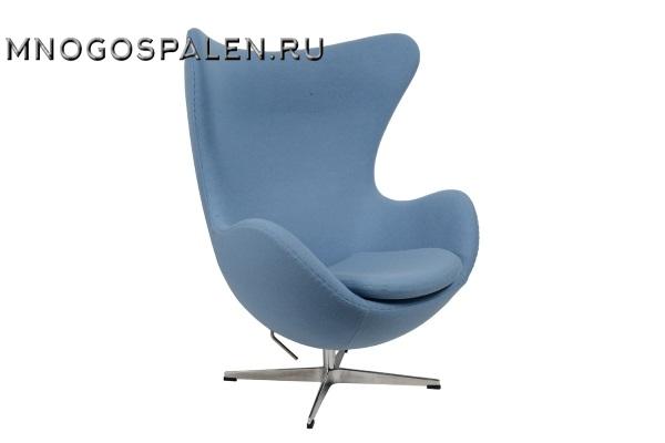 Кресло Arne Jacobsen Style Egg Chair голубая шерсть купить в салоне-студии мебели Барселона mnogospalen.ru много спален мебель Италии классические современные