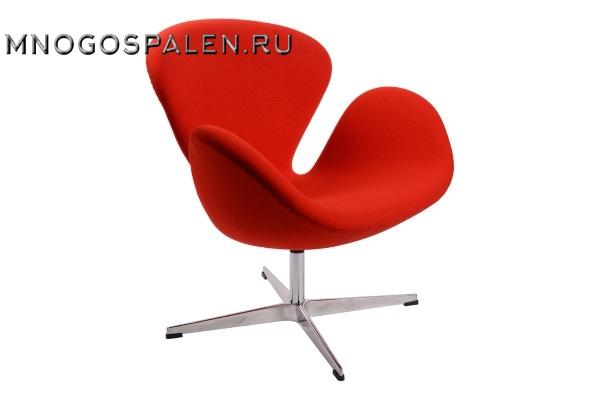 Кресло Arne Jacobsen Style Swan Chair красная шерсть купить в салоне-студии мебели Барселона mnogospalen.ru много спален мебель Италии классические современные