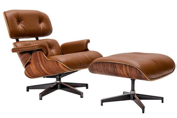 Кресло EAMES LOUNGE CHAIR коньячный купить в салоне-студии мебели Барселона mnogospalen.ru много спален мебель Италии классические современные