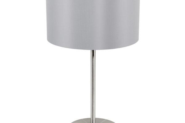 31628 Настольная лампа MASERLO, 1х60W (E27), ?230, H420, никель мат./текстиль, серый, серебряный купить в салоне-студии мебели Барселона mnogospalen.ru много спален мебель Италии классические современные