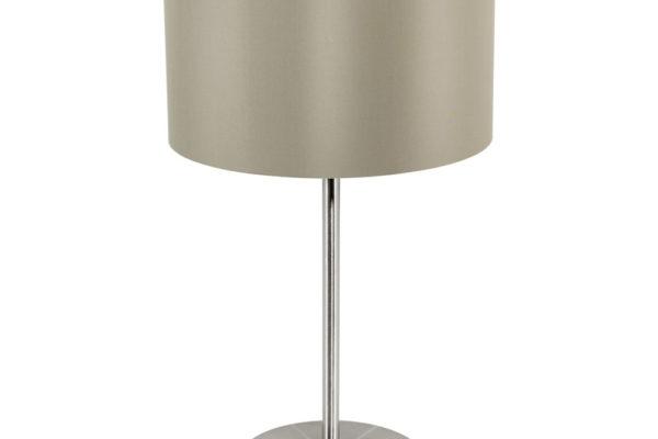 31629 Настольная лампа MASERLO, 1х60W (E27), ?230, H420, никель мат./текстиль, серо-коричневый, золо купить в салоне-студии мебели Барселона mnogospalen.ru много спален мебель Италии классические современные