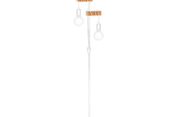33167 Настольная лампа TOWNSHEND, 2х10W (E27), L205, B250, H1665, сталь, белый/дерево, коричневый купить в салоне-студии мебели Барселона mnogospalen.ru много спален мебель Италии классические современные