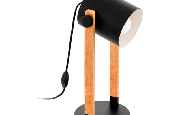 43047 Настольная лампа HORNWOOD, 1х28W (E27), L210, B180, H420, основа ?180, сталь, черный, кремовый купить в салоне-студии мебели Барселона mnogospalen.ru много спален мебель Италии классические современные