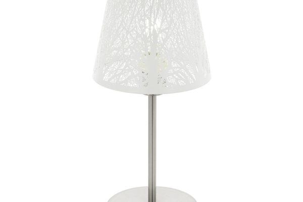 49844 Настольная лампа HAMBLETON, 1x60W (E27), ?190, H385, сталь, никель матовый/сталь, белый купить в салоне-студии мебели Барселона mnogospalen.ru много спален мебель Италии классические современные