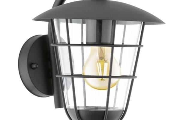 94841 Уличный светильник настенный PULFERO, 1х60W(E27), H280, гальван. сталь, черный/пластик, прозра купить в салоне-студии мебели Барселона mnogospalen.ru много спален мебель Италии классические современные